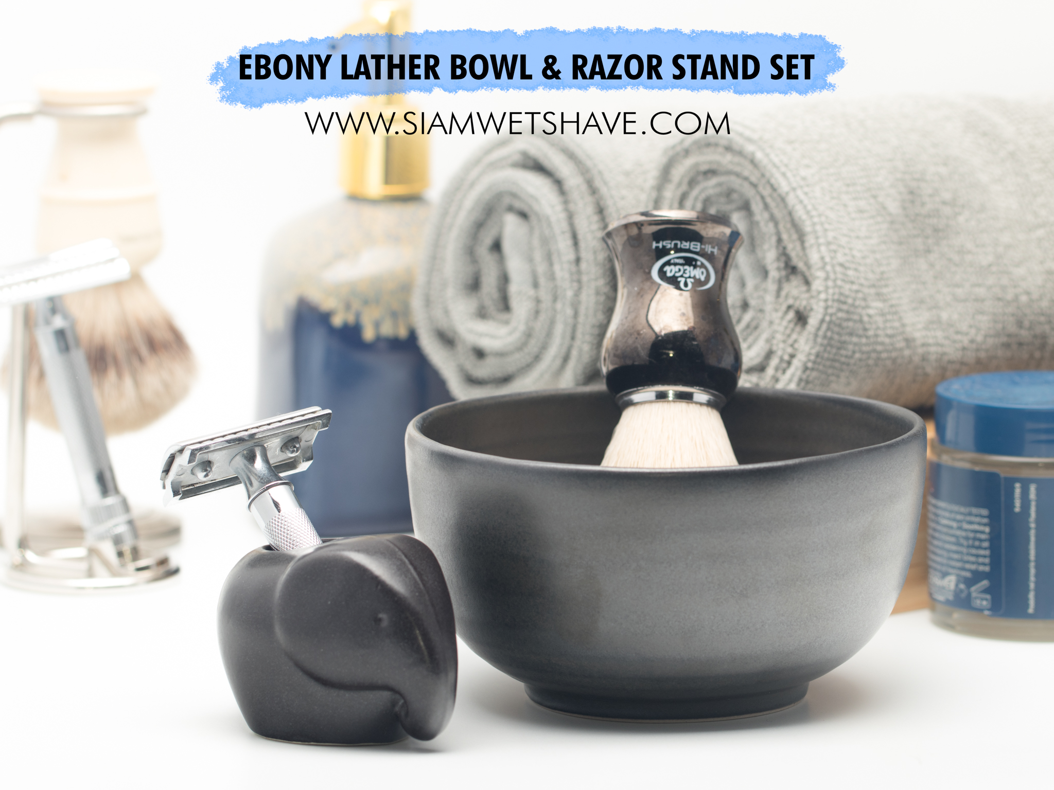 มีดโกนสยาม ebony set lather bowl shaving stand